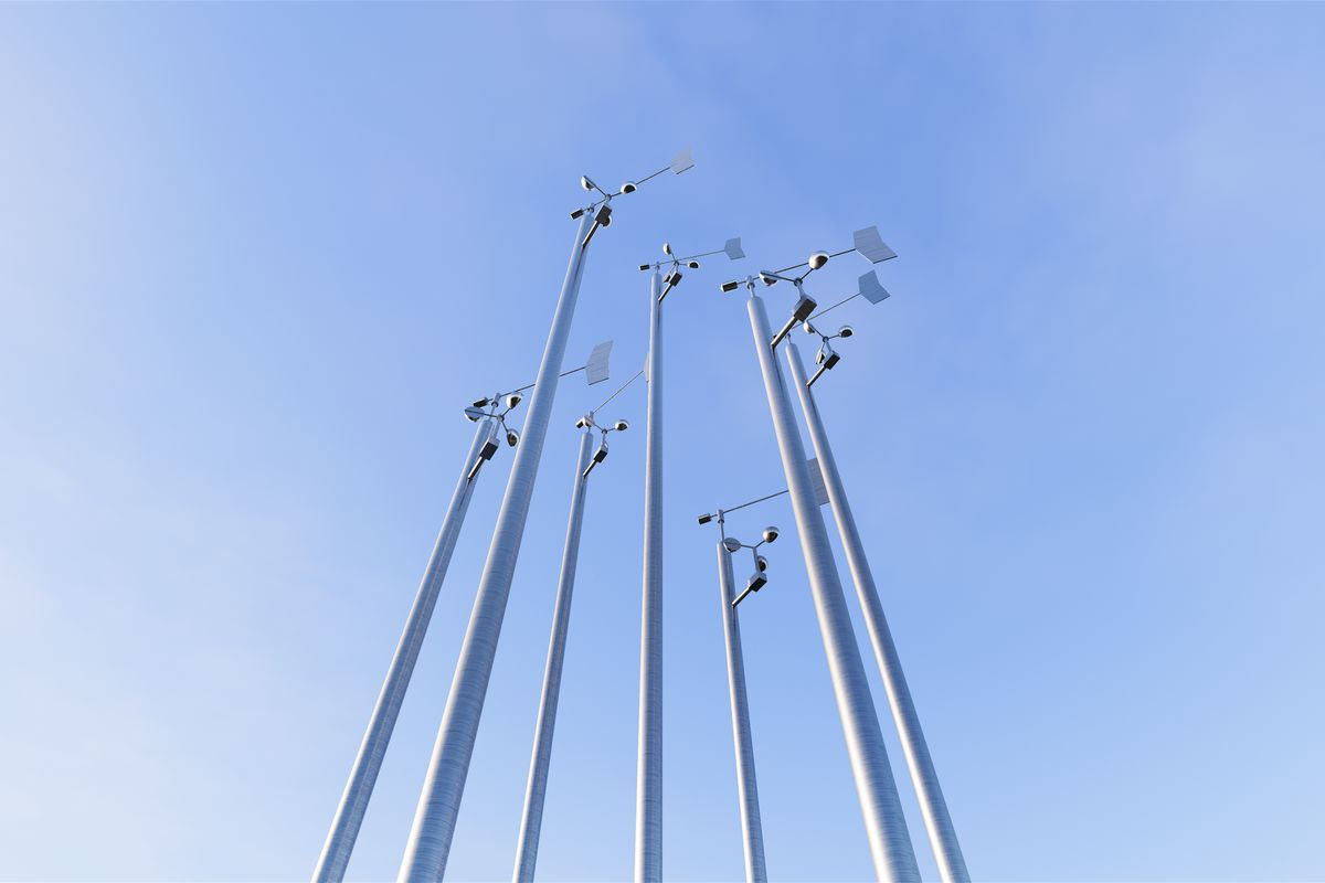 stainless steel poles each supporting a weather vane and anemometer, alternating heights, Galerie Thomas Schulte, 2020